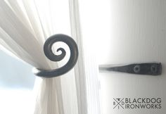 Small scroll curtain tie back hook One pair by BlackDogIronworks