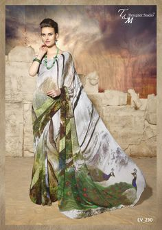 Gorgeous Peacock Print Saree with Blouse