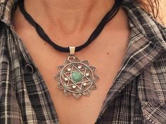 Mandala Star Necklace Black Silk Cord Turquoise by Hermitinas