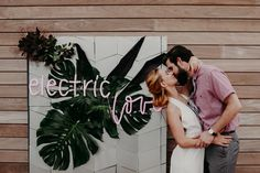 Struck by your electric love! Custom neon sign on a custom aluminum backdrop for this non-traditional elopement. styling: @mksocialco photo: @renstudio29 backdrop: @floralalchemy neon sign: @echoneonstudio