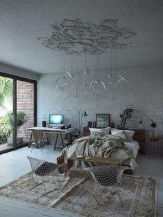 Le blanc neige se fait très tendance dans l'intérieur moderne et la chambre à coucher n'y échappe pas ! Idéal pour transformer la chambre claire en cocon de