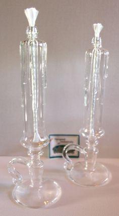 Glass Candlestick perpetual Candle Stick oil lamp light ART GLASS w/wicks