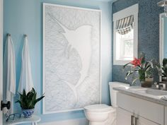 We're about halfway through our party! Be sure to refresh your browser often to see the most recent pins. Okay, we can't go any further without showing you this amazing piece of string art, made custom for this wall in the terrace bathroom. Isn't it cool!? >> http://www.hgtv.com/design/hgtv-dream-home/2016/terrace-bathroom-pictures-from-hgtv-dream-home-2016-pictures?soc=dh16pp