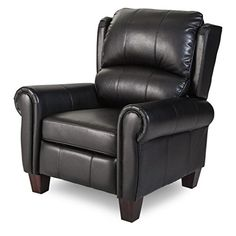 Push Back Style Wingback Leather Recliner for Any Living Room Decor This Recliner Is Made with an Luxurious Black Leather Upholstery Traditionally Style and Constructed with a Pine and Plywood Frame -- For more information, visit image link.