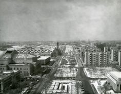 Cityscape of St. Louis Looking West from the Civil Courts Building Down Market Street, Memorial Plaza. (1950's) Missouri History Museum