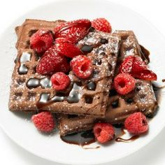 Chocolate Waffles and Berries...OH MY!  A great Saturday morning treat for you and your loved ones!  #chocolate #berries #brunch