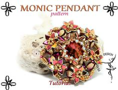 *P MONIC PENDANT pattern tutorial with pinch and by PearlyBeadDesign