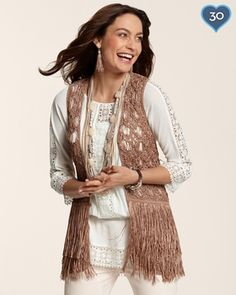 Chicos Womens Margo Fringe Vest in Summer 2013 from Chico's on shop.CatalogSpree.com, my personal digital mall.