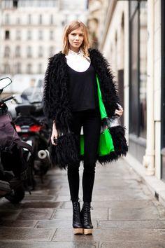Pop of neon---Love this coat.