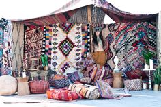 As soon as our shipment of rugs came from Morocco, We built this tent out of our Moroccan rug collection on a rooftop in Brooklyn. We love the way it turned out and inspired us to use our rugs as tapestries too!   Patina
