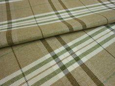 MODERN TARTAN PLAID TAN BROWN OLIVE GREEN & CREAM Upholstery Fabric Flame Retard
