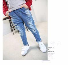082a02dcf4 F17814# 2017 New Arrival Children Euramerican Vintage Loose Leisure Soft  Broken Boys Jeans Kids Pants