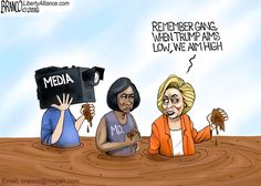 Hillary says Trump aims low while she aims high. Cartoon by A.F. Branco ©2016.