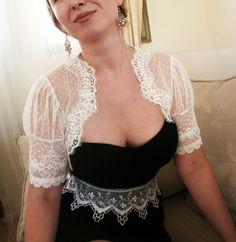 LOVE DOTS Bridal white lace bolero jacket by angelinadesign, $82.00