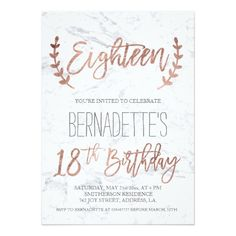 Rose Gold Typography Feathers Marble 18th Birthday Card
