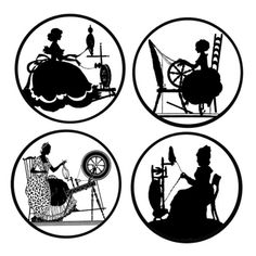 Spinning Silhouettes Black and White Collection  by ButtonDivas, $5.00