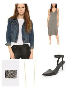 Pair the casual with the dressy by wearing a fitted denim jacket over a silk slip dress. Sleek sandals, a leopard print clutch, and a barely there necklace are the only accessories you need for this stunning look.