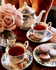 Delightful intimate shot of an afternoon Tea time arrangement! Beautiful roses, delicately detailed porcelain, and macarons!!…
