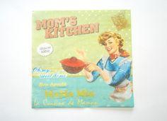 """1 Serviette en papier style rétro vintage """"Mom's Kitchen"""" pour serviettage : Serviettage, Décopatch par boutique-creative-by-c-dona"""