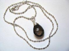 Smokey Quartz Briolette Pendant in Sterling Silver by saltyduck, $57.00