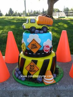Two Tiered Construction themed cake made for a little boy& first birthday! First Birthday Cakes, 3rd Birthday Parties, Boy Birthday, Birthday Ideas, Construction Birthday Parties, Construction Party, Festa Party, Cakes For Boys, Themed Cakes