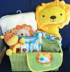 Lion Baby Boy Gift Basket by FiveBrownMonkies yellow and green Perfect jungle baby shower gift
