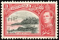 "Trinidad & Tobago  1938 Scott 52 3¢ dark carmine & black  ""Mt. Irvine Bay, Tobago"""