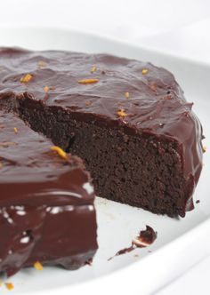 Chocolate Orange Garbanzo Bean Cake (Gluten Free) - This cake came out moist and delicious!  The texture is so beautiful that I can't believe it's made with chickpea puree and zero flour!