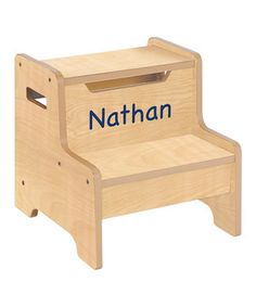 This sturdy step stool makes a great addition to any bedroom, playroom or bathroom. The cutout handles make it easy for tiny hands to transport, while the perfectly personalized design is sure to delight.