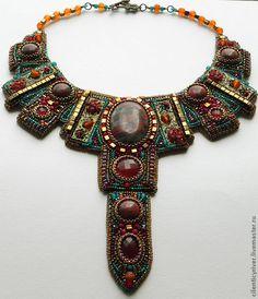 """Колье """"Аztec Мoon"""" I like the side pieces especially. Bead Embroidery Jewelry, Soutache Jewelry, Beaded Embroidery, Beaded Jewelry, Beaded Necklace, Jewelry Art, Unique Jewelry, Handmade Jewelry, Jewelry Design"""