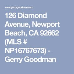 126 Diamond Avenue, Newport Beach, CA 92662 (MLS # NP16767673) - Gerry Goodman
