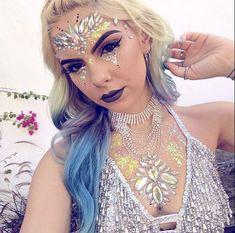 Festival club rave party face body jewels gem tattoo crystal rhinestone stick on Face Gems, Face Jewels, Festival Makeup Glitter, Glitter Makeup, Rhinestone Makeup, Crystal Rhinestone, Sophie Hannah Richardson, Jewel Tattoo, Gem Tattoo