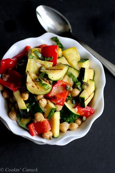 Grilled Vegetable, Chickpea and Caper Salad from @cookincanuck