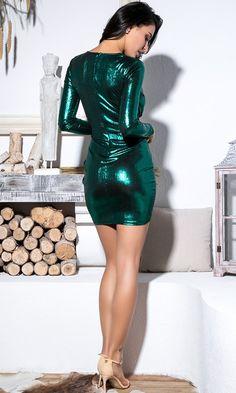 825ecbfeba Disco Dreams Metallic Long Sleeve Plunge V Neck Twist Sash Mini Dress - 4  Colors Available