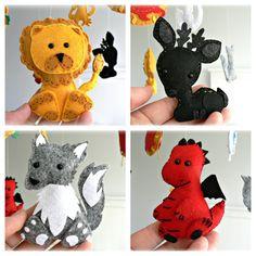 Game of Thrones mobile - Wolf, lion, dragon, stag, falcon, kracken, flower, sun, crown - Geekery - Fantasy - nursery decor via Etsy