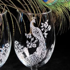 Peacock Wedding Wine Glasses Glass Etched by bradgoodell on Etsy, $46.00