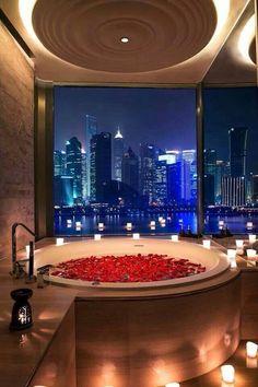 Bath fill with rose petals