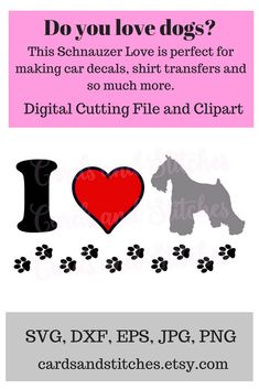 This Schnauzer SVG Digital Cutting File and Clipart is perfect for making cards, signs, glass blocks and so much more.  Great for Cricut and Silhouette cutting machines. #Schnauzer #Schnauzersvg #Schnauzerclipart #dogsvg  #dogs #lovedogs #svg #clipart