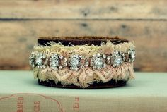 Leather Rhinestone Cuff Hippie Bracelet by GallimaufryClothing, $32.00