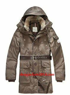 5010e1746ba5 Moncler Down Coats Mens Mid-Length Hooded Coffee