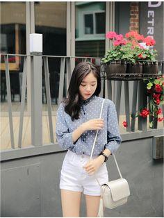 Linen Dot China Shirt - Shirts & Blouses | Korean Fashion - KOODING.com