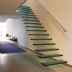 Modern Float Straight Glass Staircase Find Details about Staircase, Modern Float Glass Staircase from Modern Float Straight Glass Staircase - Shenzhen Prima Industry Co. Floating Staircase, Modern Staircase, Staircase Design, Staircase Ideas, Stair Design, Cantilever Stairs, Staircase Railings, Stair Treads, Staircases