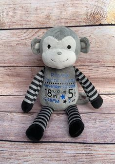 50th Birth, Gifts For New Parents, Personalized Baby Gifts, Newborn Baby Gifts, Sentimental Gifts, Nursery Themes, Announcement, Baby Shower Gifts, Monkey