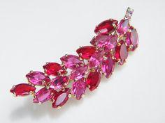 Vintage Juliana Pink Red Rhinestone Feather by GrandVintageFinery, $37.99