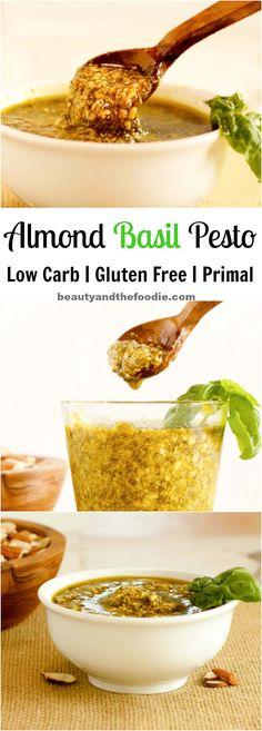 A low carb Almond Basil Pesto Sauce with a Paleo option. Easy to make!