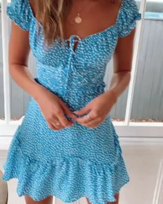 Beautiful Deep Sky Blue Casual Summer Mini Dress / Short Dress with Cap Sleeves, a Subtle Sweetheart Bustier Style at the Front, Elastic Waist and Floral Print. Trendy Dresses, Sexy Dresses, Blue Dresses, Beautiful Dresses, Dress Outfits, Casual Dresses, Casual Outfits, Short Sleeve Dresses, Fashion Outfits