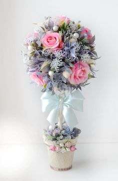 Автор Марина Крайнева. Diy Flowers, Flower Vases, Flower Decorations, Flower Art, Paper Flowers, Topiary Centerpieces, Diy Y Manualidades, Design Floral, Topiary Trees