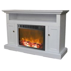 Cambridge CAM5021-2WHT Sorrento Fireplace Mantel with Electronic Fireplace Insert, White