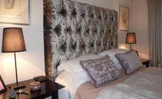 Padded Crushed velvet headboard: Wemyss Diva crushed velvet headboard in glamorous York appartment.
