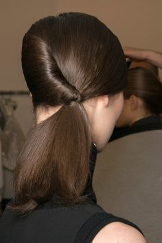 #Runway hair backstage #ponytail #brunette